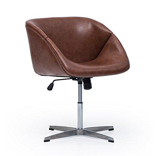 Moderne Soho Chaise De Bureau Paresseux Chaise PU En Alliage D'aluminium Pieds Peut Être Ajustée 62 * 57.5 * 74-88 Cm (Couleur : Marron)