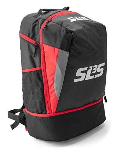 SLS3 Triathlon Transition Bag | Tri Backpack | Ideal for Triathlon Gear, Multisport, Cycling, Swimming | 40L | German Designed (Black/Red)