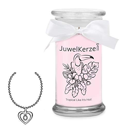 JuwelKerze Tropical Like It's Hot, große Duftkerze (Tropische Früchte, 1020g, 95-125 Std. Brenndauer) in Rosa mit 925er Sterling Silber Schmuck, Halskette