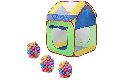 Clamaro 'Pop-Up' Bällebad Zelt mit 300 bunten XXL Bällen (Ø 5,5 cm Durchmesser), Kinder Spielzelt für drinnen und draußen mit 2 Fenstern - ACHTUNG: B-Ware 2. Wahl