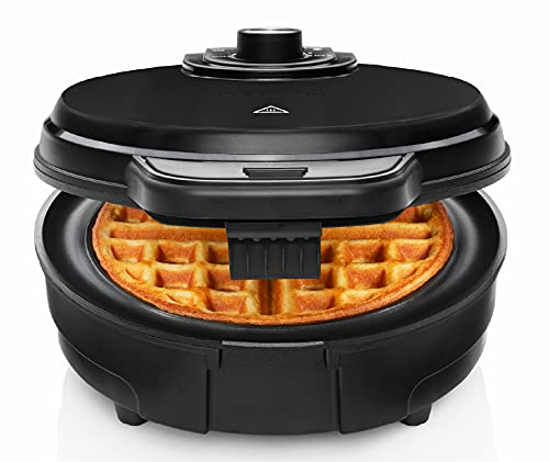 Chefman Anti-Overflow Belgian Waffle Maker w/ Shade Selector, Temperature Control, Mess Free Moat, Round Iron w/ Nonstick Plates & Cool Touch Handle, Measuring Cup Included, Black