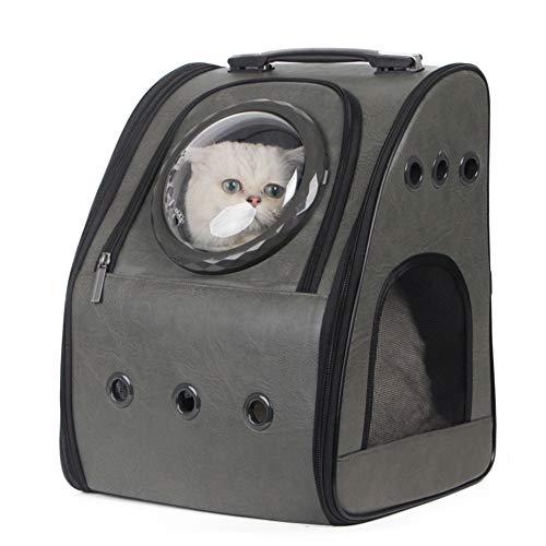 imyth Mochila expandible para gatos de piel sintética y tela de burbujas para perros pequeños, senderismo, viajes, camping, bolsa de transporte (piel sintética, gris)
