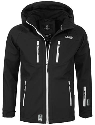Marikoo Herren Softshell Funktions Outdoor Ski Regen Winter Jacke Sport B630 [B630-Noa-Schwarz-Gr.S]