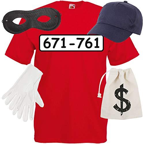 Shirt-Panda Herren T-Shirt Panzerknacker Kostüm + Cap + Maske + Handschuhe Verkleidung Karneval SET06 T-Shirt/Cap/Maske/Handschuhe/Beutel XL