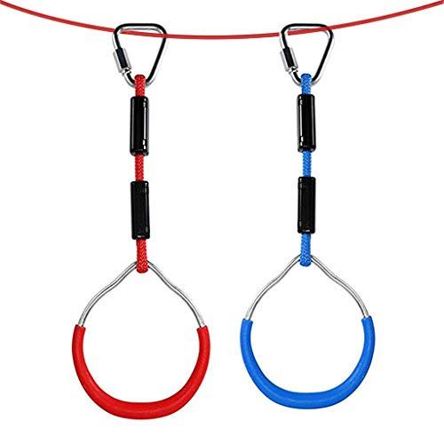 Baipin 2 Pcs Anillos De La Gimnasia para Niños de Aire Libre, Traje Exterior Ninja Cuerda Combinación Accesorios Escalada para Uso del Entretenimiento En Interiores Y Exteriores, aparatos de Fitness