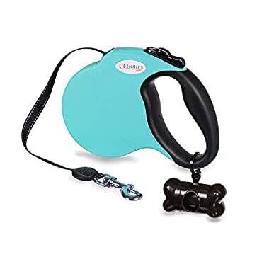 Bennies World 16 ft Retractable Dog Leash for Walking Large Medium Small Breeds up to 110 pounds - Reflective Tape - One Button Lock -Waste Dispenser and Poop Bags