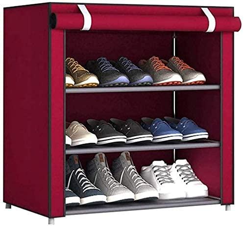 GQQ 3 Zapatos de Nivel Estantes del Armario con Los Zapatos de la Cubierta a Prueba de Polvo para No Tejidos de Almacenamiento Gratuito Organizador Permanente Habitación Dormitorio Principal Utility