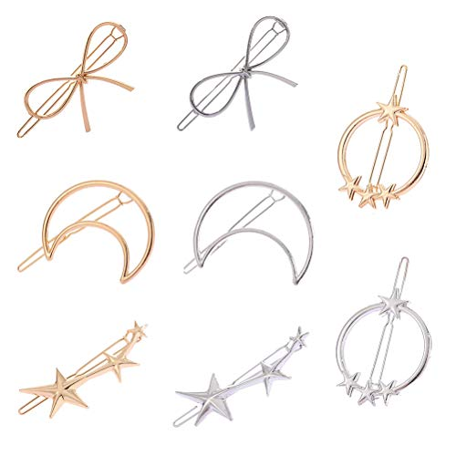 8pcs Geometric Hollow out Hair Clips Metal Hairpins Bow Moon Star Shape Hair Clamps for Women Girls