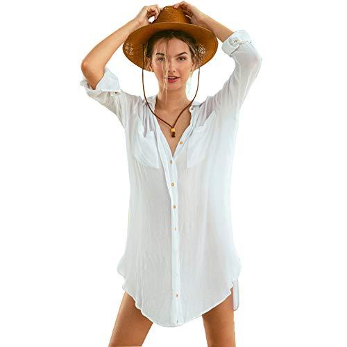 Chiffon - Funda para traje de baño de mujer, cuello en V, sexy, camiseta, bikini de manga larga, talla única, para playa, piscina, playa, verano, vacaciones 1-white Talla única