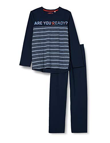 Sanetta Jungen Shadow Blue Are You Ready Dieser Coole Lange Schlafanzug modischen Print bringt Augen zum leuchten, blau, 140