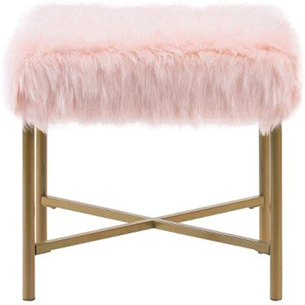 HomePop Faux Fur Square Stool With Metal Legs Pink
