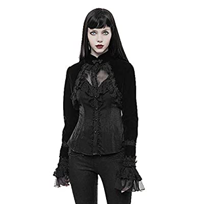 Punk Rave Gothic Shrugs for Women Victorian Long Sleeve Cardigan High Collar Bolero Lace Velvet Short Jacket Coat Black, 3X-Large from Punk Rave