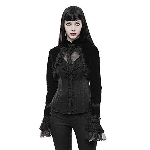 Punk Rave Gothic Shrugs for Women Victorian Long Sleeve Cardigan High Collar Bolero Lace Velvet Short Jacket Coat Black, X-Small