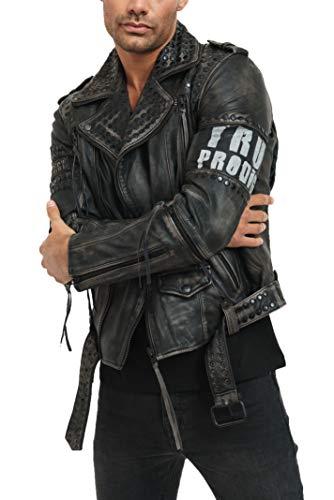 trueprodigy Casual Hombre Marca Chaqueta De Cuero Autentica Ropa Retro Vintage Rock Vestir Moda Moto Verano Manga Larga Slim Fit Designer Fashion Jacket, Colores:Black, Tamaño:XXL