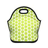 White Abstract Lime Green Polka Dot Pattern Neoprene Lunch Bag Insulated Lunch Box Tote for Women Men Adult Kids Teens Boys Teenage Girls Toddler