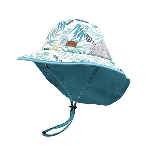 Pesaat Baby Sonnenhut Mädchen Mit UV-Schutz Sonnenmütze Baby Junge Mit Nackenschutz Sommermütze Kinder Babymütze Sommer (Tropische Blätter, Gr.3-12Monate(44-48))