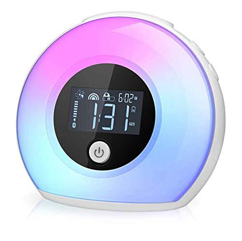 Wake Up Licht Lichtwecker, Macrimo Dimmbar Stimmungslicht mit LCD Display/Smart Wecker, 4 Helligkeit, 5 Farbwechsel, Vibration sensor drahtlos Bettlampe für Schlaf Kinder Geschenk