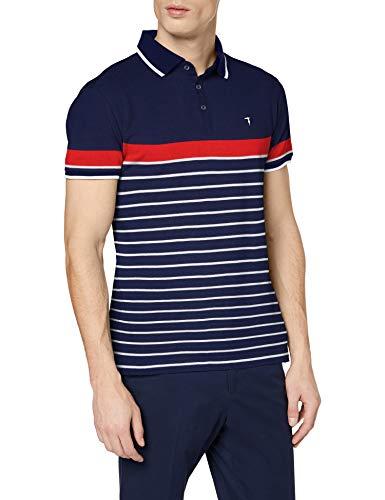Trussardi Jeans Herren Polo Piquet Pure Cotton Regul Poloshirt, Mehrfarbig (Blu/White/Bordeaux U608), Large