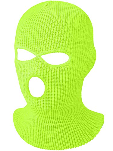 3-Hole Knitted Full Face Cover Ski Mask, Winter Balaclava Warm Knit Full Face Mask for Outdoor Sports (Fluorescent Yellow,Adult Size)