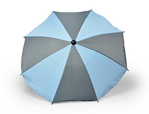 Universal sombrilla paraguas para carrito y Sport Buggy, pantalla para cochecito de bebé con soporte universal, UV schutz50+ toldo Protección Solar, dos colores gris y azul