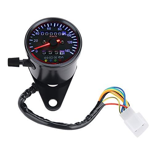 Moto Odómetro, Retroiluminación LED 12 V Moto Tacómetro Doble Cuentakilómetros Velocímetro Gauge Kit