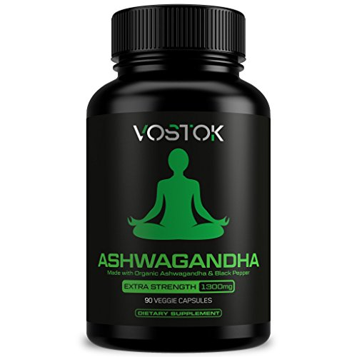 Organic Ashwagandha 1300mg - Natural Stress and Anxiety Relief Supplement - Healthy Nervous System, Energy and Mood Support - Non-GMO and Gluten Free - with Black Pepper Extract - 90 Veggie Capsules