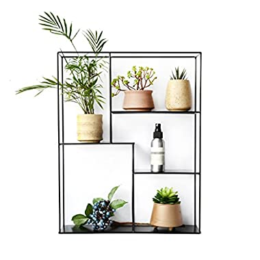 Flower Racks Plant Shelf Iron Metal Book Shelf/Flower Shelf Wall Mounted Garden Plant Display Plant Pots Holder Shelves/Rack Garden Storage Shelf Outdoor Garden Available in Black 40x11x50CM