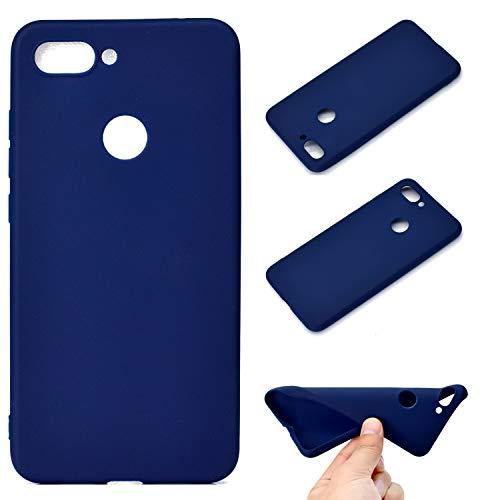 Everainy Funda Compatible para Xiaomi Mi 8 Lite/Mi 8 Youth/Mi 8X Silicona TPU Gel Slim Color sólido Dibujos Carcase Cover Bumper Ultrafina Goma Case Caucho Antigolpes (Azul)