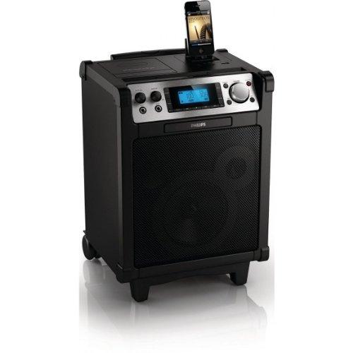 Philips AZP6/12 Portabler Lautsprecher mit Dockingstation für iPod/iPhone (Verstärker-Funktion,inkl. Mikrofon) schwarz