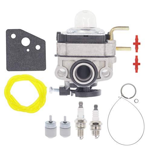Hutdkte 753-06220A Carburetor for Troy Bilt TB575EC TB525EC Curve Shaft Gas String Trimmer with AC04122 Fuel Line Gasket Spark Plug Kit