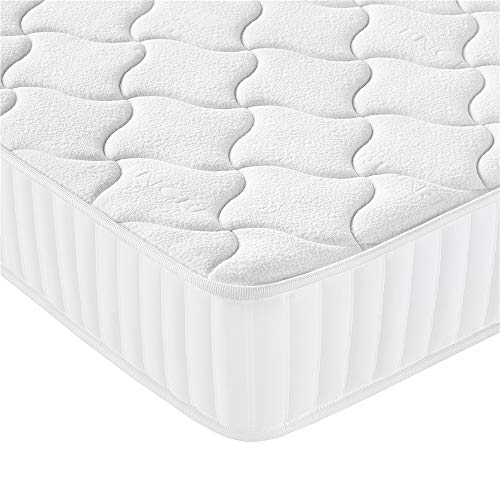 Costoffs Memory Foam Double Mattress 4ft 6 Medium Firm Pocket Sprung Mattress with Tencel Fabric,Orthopaedic Mattress,Thickness: 8.7 Inch (White)