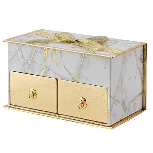 Cajas de regalo rectangulares rígidas con tapa, cajas de regalo de papel, caja de almacenamiento con dos cajones pequeños, adecuadas para almacenamiento de anillos y collares con lazo