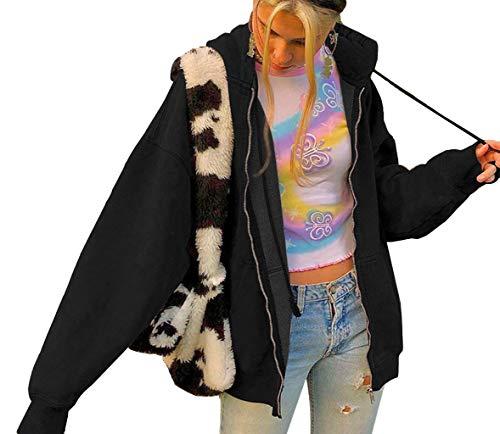 Tomwell Damen Kapuzenjacke Hoodie Jacke Hip Hop Boyfriend Style Oberteile Basic Sweatjacke Übergangsjacke Schwarz L