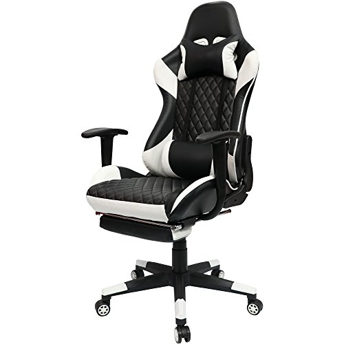 Kinsal Gaming Chair High-back Computer Chair with Footrest, Ergonomic Racing Chair, Leather Premium Lumbar Support Swivel Executive Office Chair Including Headrest and Massage Lumbar Pillow (white)