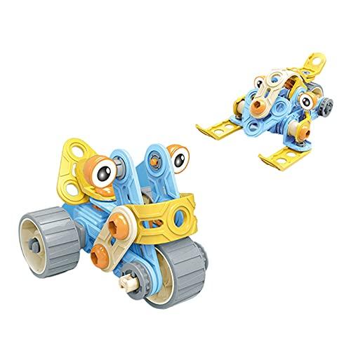 F Fityle DIY de Goma Desmontable Vehículo de Ingeniería Montaje de Tuerca de Tornillo Rompecabezas de Bloques de Juguete Capacidad Práctica Coche Divertido Reg - 2 vías Azul