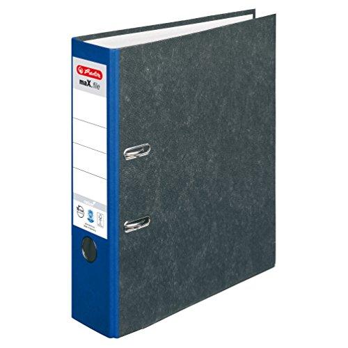 Herlitz Ordner maX.file nature, Pappe, Wolkenmarmorbezug, Kantenschutz, standfest, A4 8 cm, blau