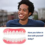 ISCTKZDPC Snap on Smile Temporary Cosmetic Teeth Protectors Denture Cover Simulated Braces Makeover Set for Tooth Whitening 1 Pair