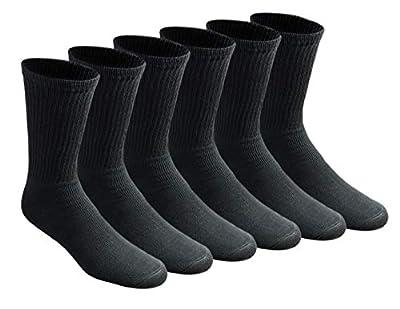 Dickies Men's All Purpose Cushion Crew Socks (6/12 Packs), Black (6 Pair), Shoe Size: 6-12 by Dickies - Royce Too