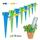 mopalwin Irrigation Goutte à Goutte Kit,d'arrosage Automatique avec vannes de régulation, débit d'eau réglable,pour Jardin intérieur ou extérieur (Lot de 15 pcs)