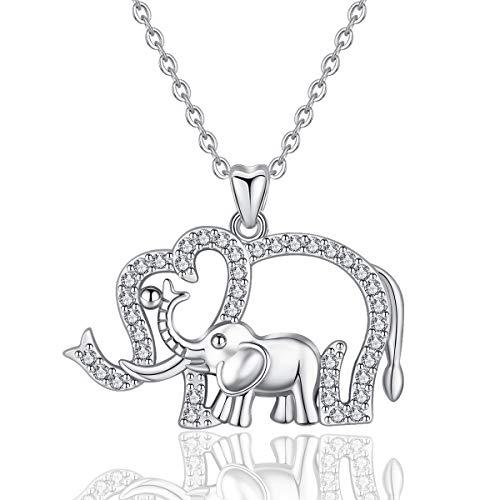 EUDORA Collar de Elefante Plata de ley 925 Colgantes Lindo Elefante Madre e Hijo Bisuteria de Afortunado para Mujer, Regalos Originales para Mujer Niñas Hermana Madre e Hija, 18
