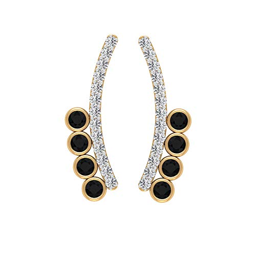 Black Spinel Earring, HI-SI Diamond Earrings, Gold Climber Earrings (2 MM Round Shaped Black Spinel), 10K Yellow Gold, Pair