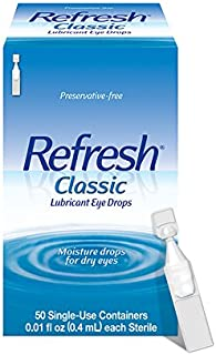 Refresh Classic Lubricant Eye Drops, 50 Single-Use Containers, 0.01 fl oz (0.4mL) each Sterile