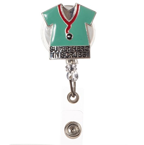 """Artisan Owl - Medical Professional""""Superhero in Scrubs"""" Retractable ID Badge Reel with Clip for Nurses and Doctors"""
