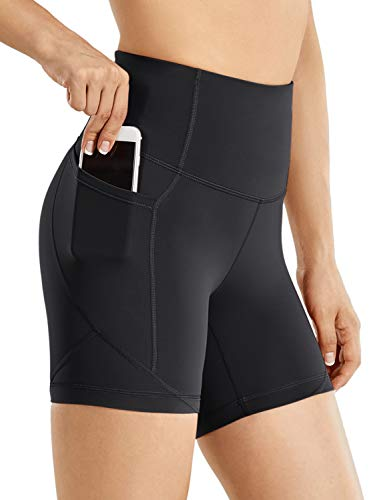 CRZ YOGA Women's Biker Shorts Workout for Women Naked Feeling Athletic Yoga Shorts Tights with Side Pockets-5 Inches Black Large