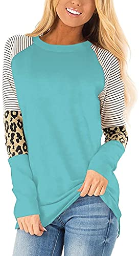 ZRDSZWZ Camisetas fiables para mujer de manga larga con cuello redondo y rayas (color: 2-gris azul, tamaño: XL)