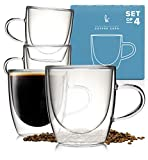 Glass Coffee or Tea Cups Drinking Glasses Set of 4-5oz Double Walled Thermo Insulated Mugs with Handle for Espresso...