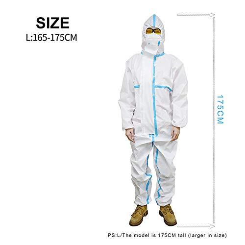 WZL White Schutzkleidung für den Beruf Einweg-Schutzanzug Hazmat-Schutzanzug Staubdichte Isolationsanzüge Antistatisch, A L 165-175CM