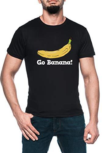 Go Banana! Hombre Negro Camiseta Manga Corta Men's Black T-Shirt