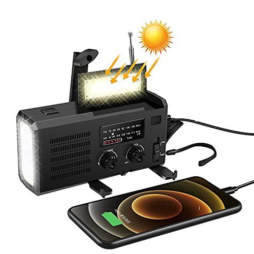 多機能防災ラジオ 大容量4000mAh LED懐中電灯 防災 FM/AM/NOAA携帯ラジオ SOSアラート 手回し充電 ソーラー充電 USB充電 乾電池使用可能 4つ給電式ラジオ スマホ充電対応可能 充電便利 防水 地震 震災 津波 台風 停電 防災など