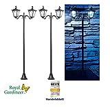 Royal Gardineer Solarleuchte: 2er-Set Solar-LED-Gartenlaterne, 2 flammig, PIR- & Dämmerungssensor (Solar-Garten-Lampen)